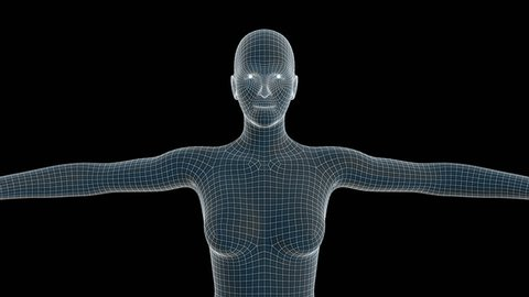 3d animation of a woman xray hologram with alpha channel