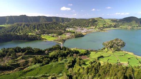 Aerial shot of Lagoa das Sete Cidades - lakes and town on Sao Miguel Island, Portuguese archipelago of the Azores.