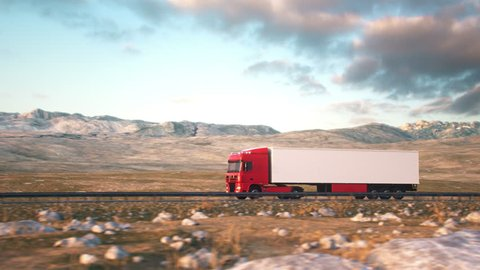 Side-view camera follows a semi truck driving on a highway into the sunset. Realistic high quality 3d animation.
