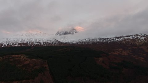 Ben Nevis at sunset - aerial footage