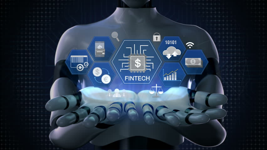 Robot, cyborg opens two palms, Fin-tech icon, Financial technology and various information icon. 4K size movie.2.