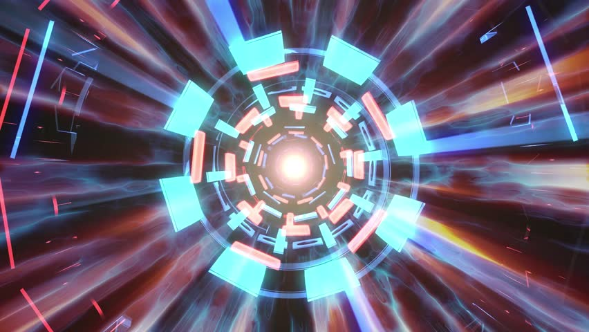Flight in out through block neon hyperspace lights cyber tunnel motion graphics animation background loop new quality retro futuristic vintage style cool nice beautiful video footage