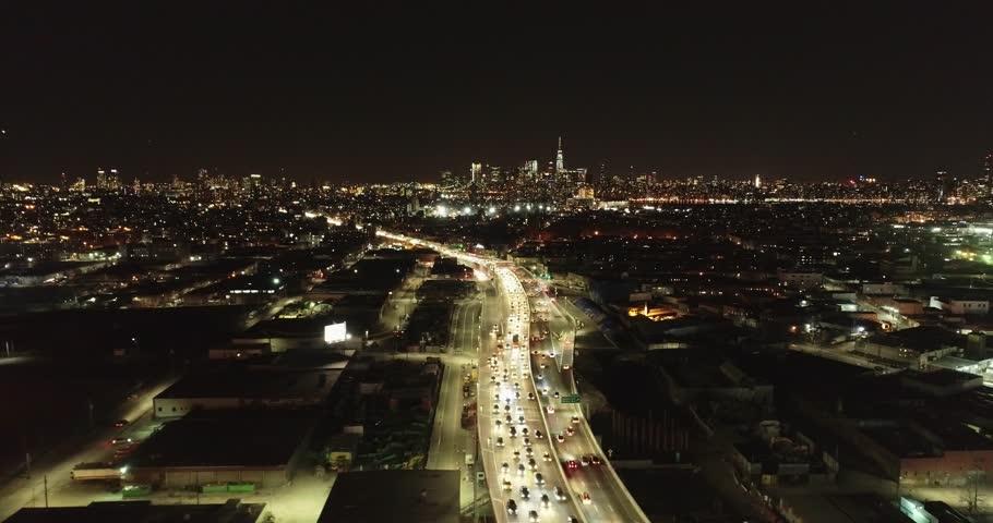 Aerial of The Kosciuszko Bridge, Queens and Brooklyn, New York, February 2018 | Shutterstock HD Video #1009785590