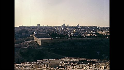 Old City of Jerusalem aerial view. With the Dome of the Rock on the Temple Mount. Historic restored footage on 1980s in Israel.