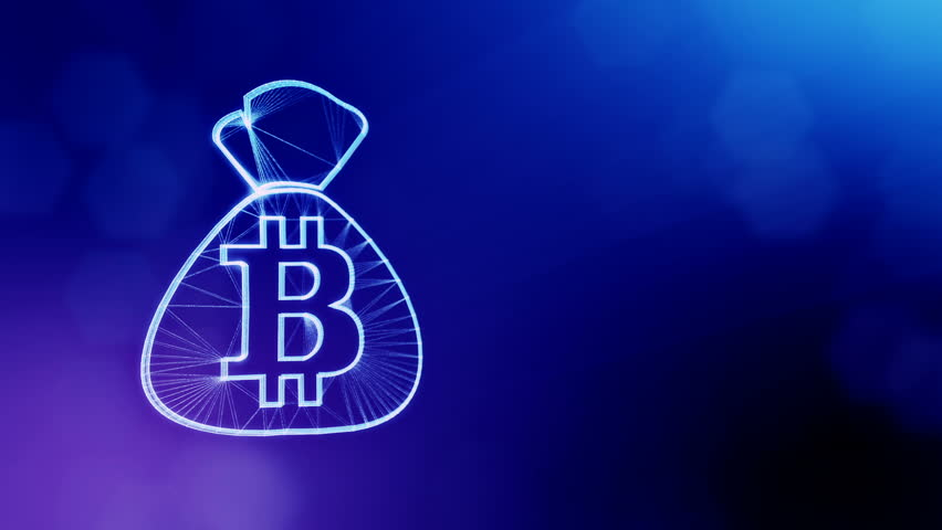 bitcoin logo on the bag. Financial concept. Financial background made of glow particles as vitrtual hologram. Shiny 3D loop animation with depth of field, bokeh and copy space. Blue version 3