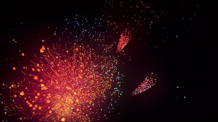 Colorful fireworks on black background 4K | Shutterstock HD Video #1009815410