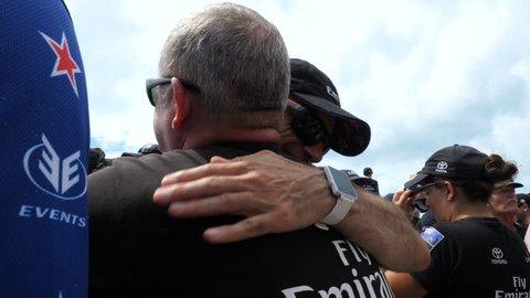 HAMILTON, BERMUDA – JUNE 26: New Zealand supporters celebrate during America's Cup finals on June 26, 2017 in Hamilton, Bermuda
