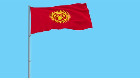 Isolate flag of Kyrgyzstan on a flagpole fluttering in the wind on a transparent background, 3d rendering, 4k prores footage, alpha transparency.
