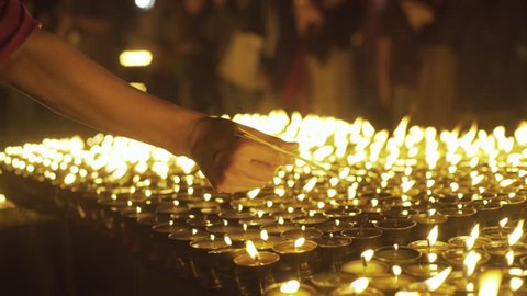 Candle ceremony boudhanath Stupa in Kathmandu, Nepal.