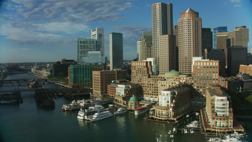 Aerial city view of Metropolitan skyscraper buildings in downtown Boston Financial office business district Massachusetts USA