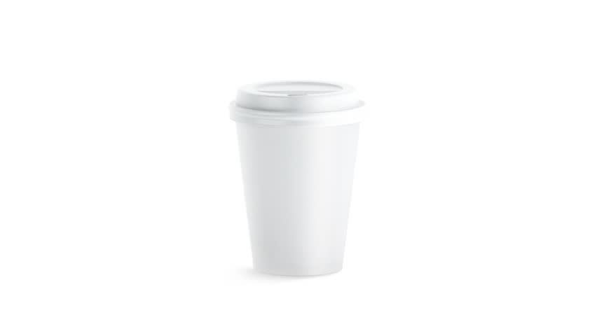 Blank white disposable paper cup with plastic lid mock up isolated, looped rotation, 3d rendering. Empty polystyrene coffee drinking mug mockup front view. Clear plain tea take away package turning.   Shutterstock HD Video #1009877240