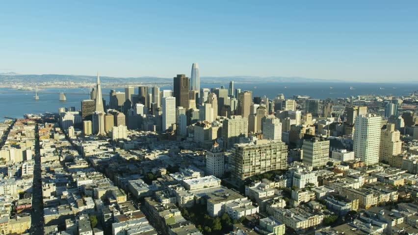 Aerial metropolis city view of downtown Financial district Transamerica Pyramid skyscraper San Francisco Bay Pacific ocean California USA