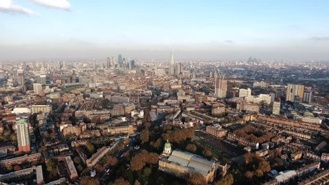South London Aerial City View around Waterloo, Southwark feat. Suburban and Central Neighborhood in Elephant & Castle, Kennington Skyline 4K Ultra HD