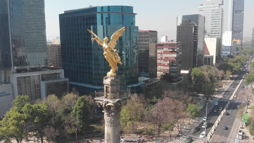 Angel of Independence Mexico Aerial footage Mexico City