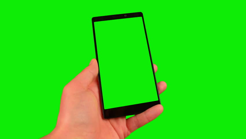 Phone in the hand close up isolated at green background. Phone screen and background chroma key green screen. Footage for mobile ads, app promo. FullHD 16:9 vertical smartphone screen. #1009934210