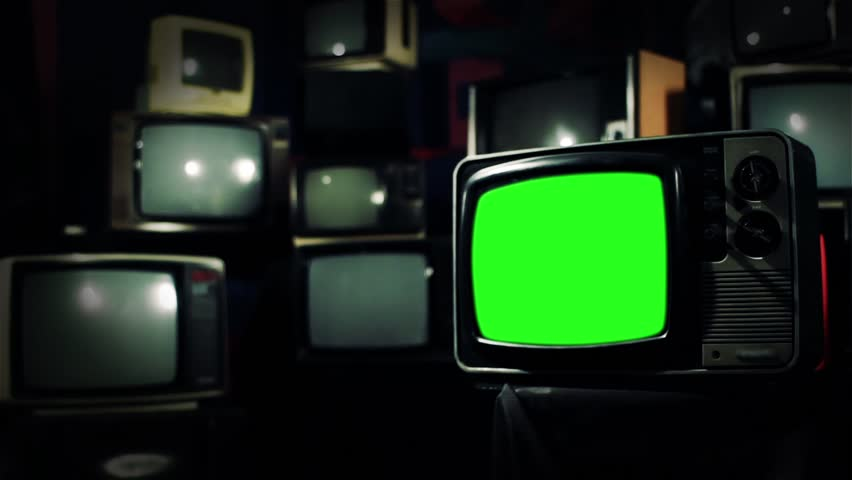 Vintage 80s Tv with Green Screen. Cross Tone. Zoom In. Ready to replace green screen with any footage or picture you want.  | Shutterstock HD Video #1009948250