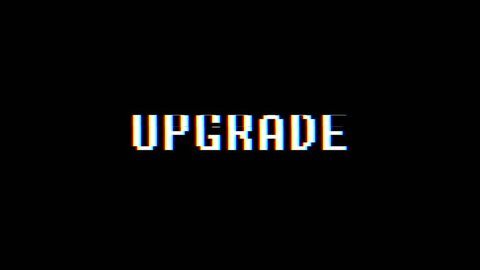 retro videogame UPGRADE text computer old tv glitch interference noise screen animation seamless loop New quality universal vintage motion dynamic animated background colorful joyful video
