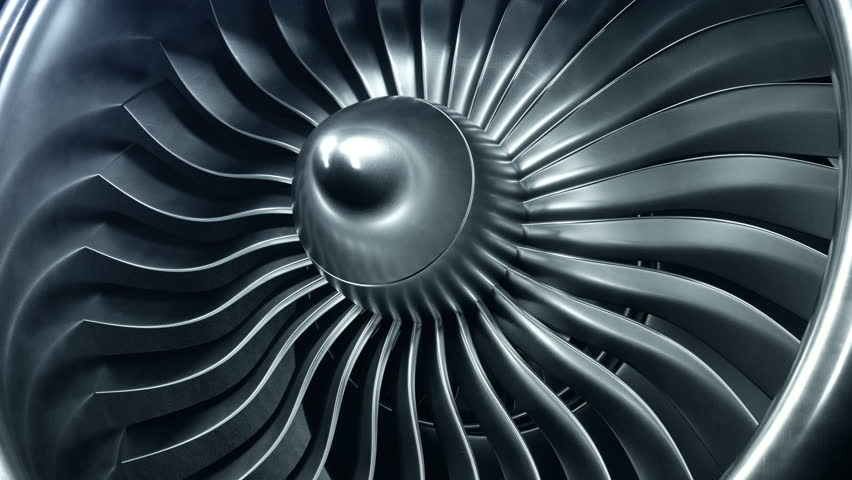 3D Rendering jet engine, close-up view jet engine blades. 4k animation | Shutterstock HD Video #1009955600