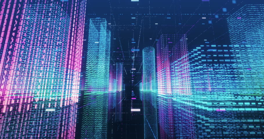 Seamless loop abstract hologram 3D city rendering with futuristic matrix. Digital buildings with a binary code particles network. Technology and connection concept.  | Shutterstock HD Video #1009981520