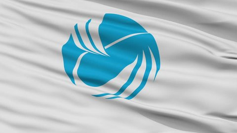 Toyooka close up flag, Hyogo prefecture, realistic animation seamless loop - 10 seconds long