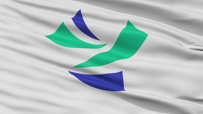 Yoshinogawa close up flag, Tokushima prefecture, realistic animation seamless loop - 10 seconds long