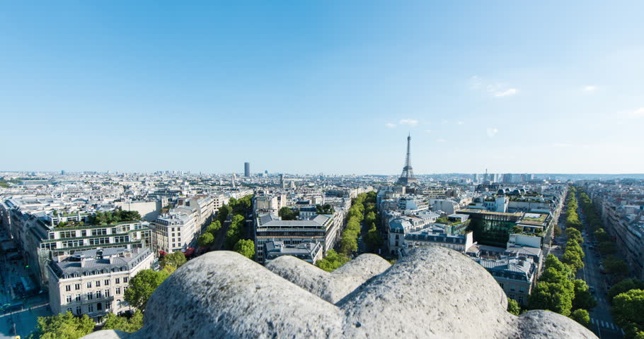 PARIS, FRANCE – SEPTEMBER 2016 : Timelapse over central Paris on a beautiful day with Eiffel Tower and cityscape in view | Shutterstock HD Video #1009990700