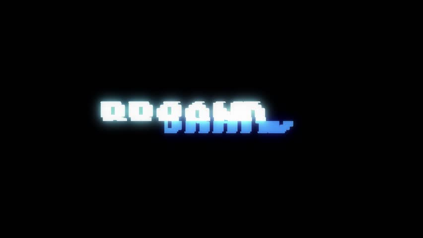 Retro videogame BRAND word text computer old tv glitch interference noise screen animation seamless loop New quality universal vintage motion dynamic animated background colorful joyful video m   Shutterstock HD Video #1010004110