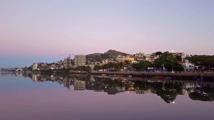 Bay of Vitoria. Sunrise on the channel. Espirito Santo - Brazil.