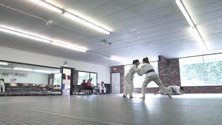 Young women doing Jiu-jitsu
