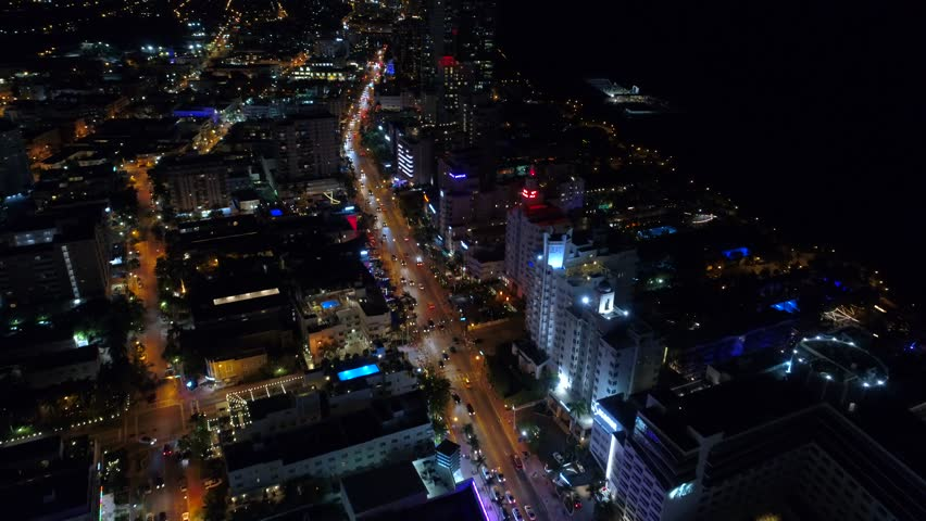 Aerial tour Miami Beach at night