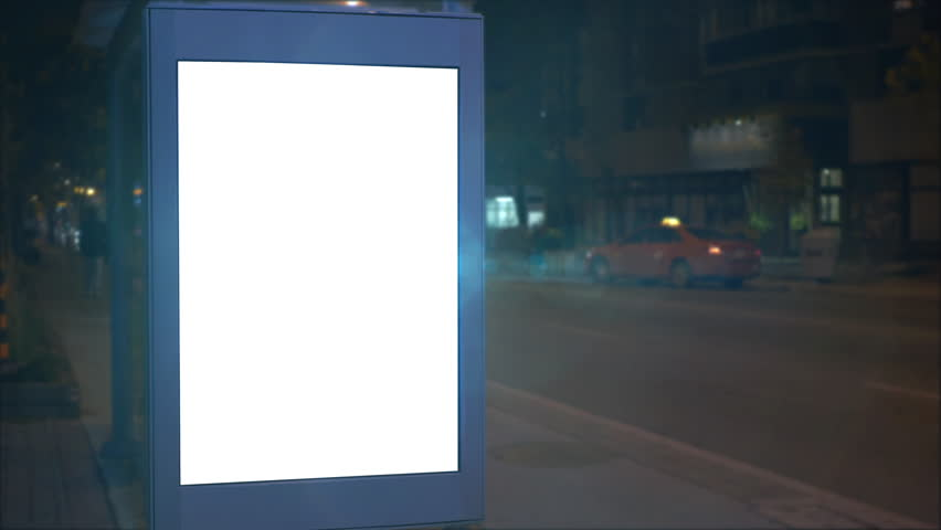 Lit Up Blank Bus Stop Advertising Outdoor Ad Board at Night, Blank City Poster   Shutterstock HD Video #1010038250