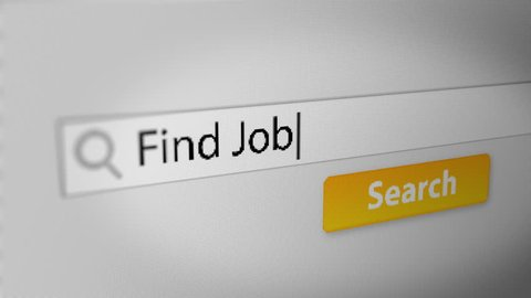 """Find Job"" Typing into Search Engine on Computer Screen. Internet Search Engine Screen Close-Up."