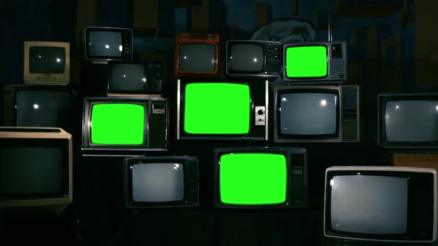 "4 Retro TVs Turning On Green Screen. Blue Steel Tone. Zoom Out. You can replace Green Screen with any Footage or Picture you Want with ""Keying"" Effect in AE (check out tutorials on YouTube). 