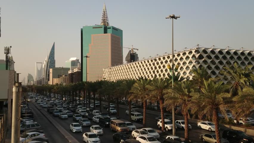 Riyadh, Saudi Arabia - October 15, 2017: Riyadh Cityscape in 4K footage with traffic along King Fahad Road.