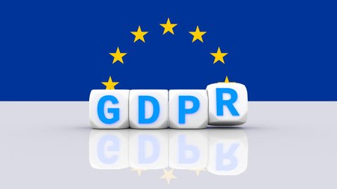 GDPR, DSGVO general data protection regulation concept. 3D rendering, with dices blue variant, UHD