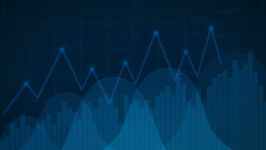 Financial chart with uptrend line graph, bar chart and stock numbers in blue color. Business growth infographics. Diagram economic growth. | Shutterstock HD Video #1010155400