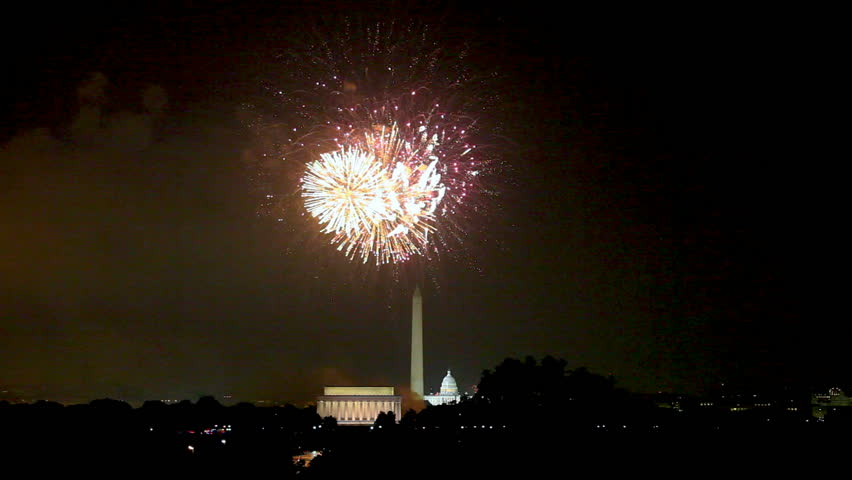 Fireworks on Independence Day, 4th July, over the monuments in Washington DC and the Mall