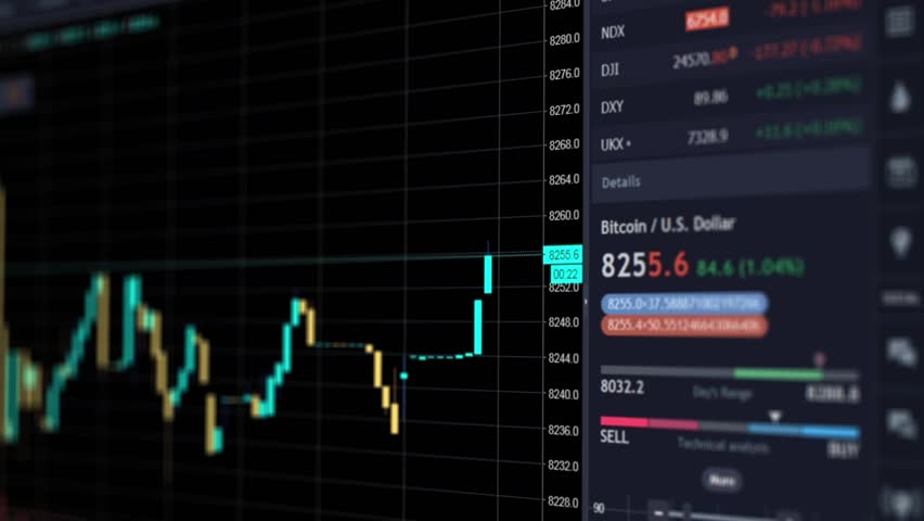 Online chart of bitcoin currency, finance trends, crypto currecy exchange and e-commerce, state of the financial market | Shutterstock HD Video #1010188040