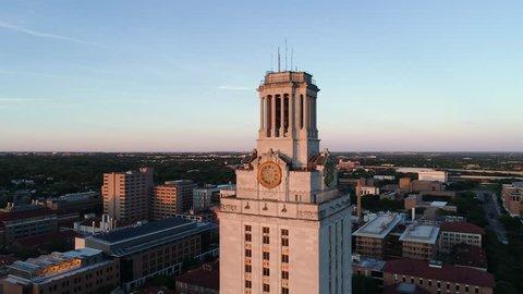 4K Aerial University of Texas UT Tower Austin Orbit