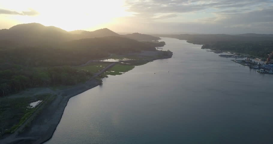 Flight over Panama Canal Aerial view of Panama Canal | Shutterstock HD Video #1010227850