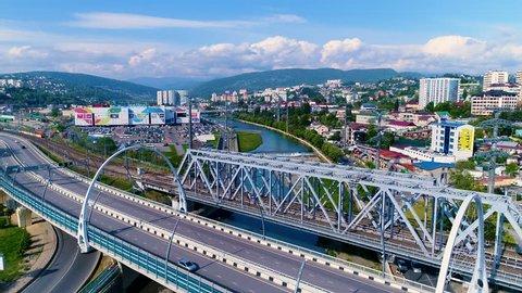 SOCHI, RUSSIA - April 23 2018: aerial view Sochi, Russia