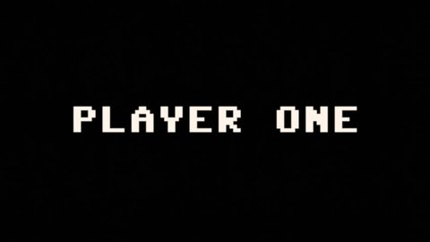 Text appearing on a retro vintage computer screen: player one, get ready, go! Clean simple style.
