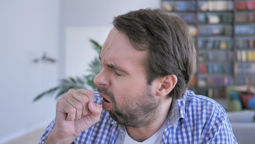 Portrait of Casual Beard Man Coughing, Throat infection | Shutterstock HD Video #1010325950
