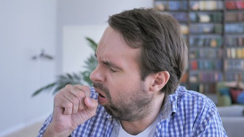 Portrait of Casual Beard Man Coughing, Throat infection