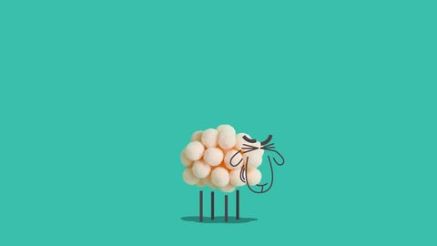 Sheep made of cotton balls standing and laughing. Creative concept of mixing real objects and computer graphic. Looped animation.