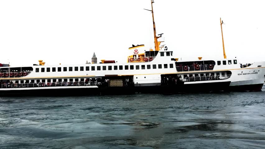Turkey Istanbul Ferry and Galata Tower