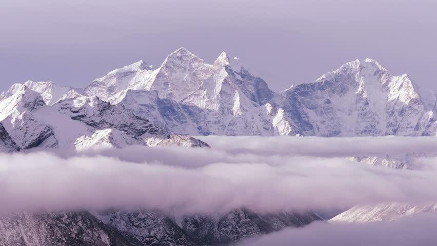 Time Lapse of Kangtega peak (6782 m) at sunrise. Nepal, Himalaya mountains.