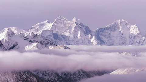 Time Lapse of Kangtega peak (6782 m) at sunrise. Nepal, Himalaya mountains.