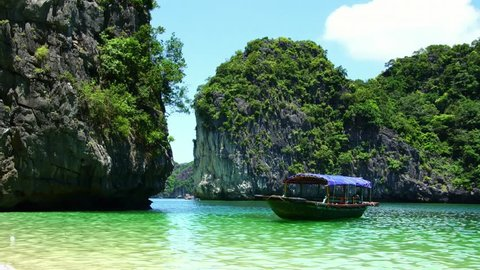Beautiful scenic view of the boat in Lagoon Halong Bay, Cat Ba island, Vietnam