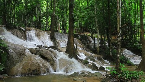 The beauty of Huai Mae Khamin Waterfall in Khuean Srinagarindra National Park Kanchanaburi, Thailand